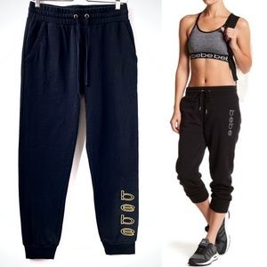 Bebe Jogger Black Sweatpants Logo Size Medium
